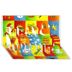 25 Xmas Things Best Wish 3D Greeting Card (8x4)