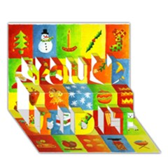 25 Xmas Things You Did It 3D Greeting Card (7x5)