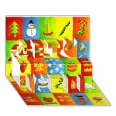 25 Xmas Things Get Well 3D Greeting Card (7x5)