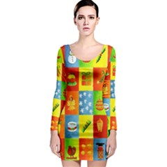 25 Xmas Things Long Sleeve Bodycon Dresses