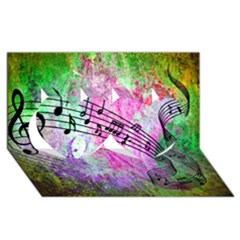 Abstract Music 2 Twin Hearts 3d Greeting Card (8x4)