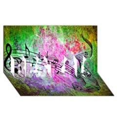 Abstract Music 2 BEST SIS 3D Greeting Card (8x4)