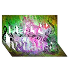 Abstract Music 2 Best Wish 3d Greeting Card (8x4)