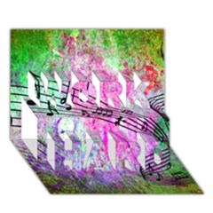 Abstract Music 2 WORK HARD 3D Greeting Card (7x5)