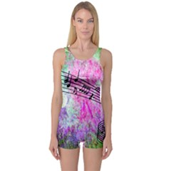 Abstract Music 2 Women s Boyleg One Piece Swimsuits