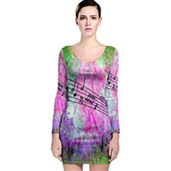 Abstract Music 2 Long Sleeve Bodycon Dresses