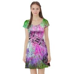 Abstract Music 2 Short Sleeve Skater Dresses