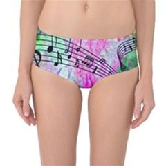 Abstract Music 2 Mid-Waist Bikini Bottoms