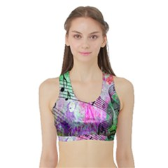 Abstract Music 2 Women s Sports Bra with Border