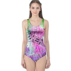 Abstract Music 2 Women s One Piece Swimsuits