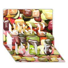 Stones 001 WORK HARD 3D Greeting Card (7x5)