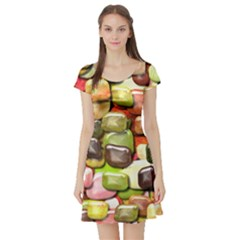 Stones 001 Short Sleeve Skater Dresses