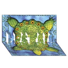 Turtle BEST SIS 3D Greeting Card (8x4)
