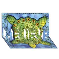 Turtle BELIEVE 3D Greeting Card (8x4)