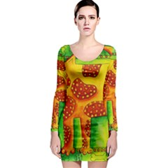 Spotty Dog Long Sleeve Bodycon Dresses