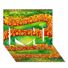 Patterned Snake I Love You 3d Greeting Card (7x5)