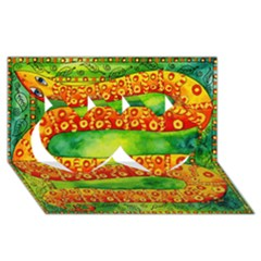 Patterned Snake Twin Hearts 3D Greeting Card (8x4)