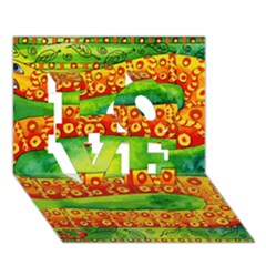 Patterned Snake LOVE 3D Greeting Card (7x5)