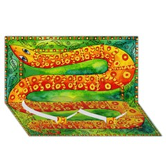 Patterned Snake Twin Heart Bottom 3D Greeting Card (8x4)