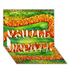 Patterned Snake You Are Invited 3d Greeting Card (7x5)
