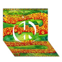 Patterned Snake Peace Sign 3d Greeting Card (7x5)