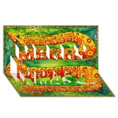 Patterned Snake Merry Xmas 3d Greeting Card (8x4)