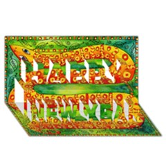 Patterned Snake Happy New Year 3D Greeting Card (8x4)