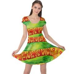 Patterned Snake Cap Sleeve Dresses