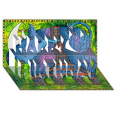 Patterned Rhino Happy Birthday 3D Greeting Card (8x4)