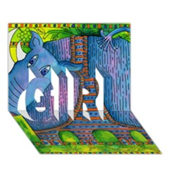Patterned Rhino Girl 3d Greeting Card (7x5)