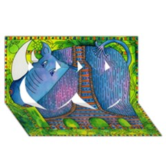 Patterned Rhino Twin Hearts 3D Greeting Card (8x4)