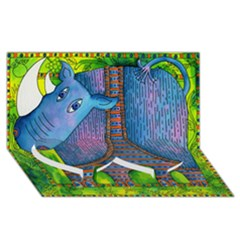 Patterned Rhino Twin Heart Bottom 3D Greeting Card (8x4)