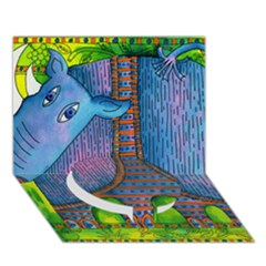 Patterned Rhino Circle Bottom 3d Greeting Card (7x5)