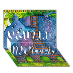 Patterned Rhino YOU ARE INVITED 3D Greeting Card (7x5)