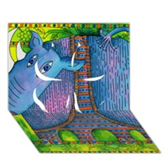 Patterned Rhino Clover 3d Greeting Card (7x5)