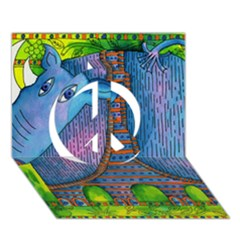 Patterned Rhino Peace Sign 3D Greeting Card (7x5)