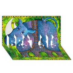 Patterned Rhino Best Sis 3d Greeting Card (8x4)
