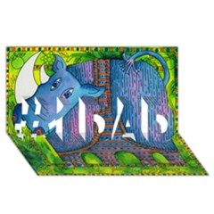 Patterned Rhino #1 DAD 3D Greeting Card (8x4)