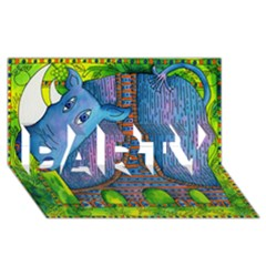 Patterned Rhino PARTY 3D Greeting Card (8x4)