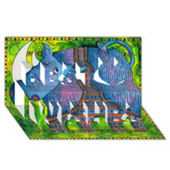 Patterned Rhino Best Wish 3d Greeting Card (8x4)