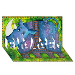Patterned Rhino ENGAGED 3D Greeting Card (8x4)
