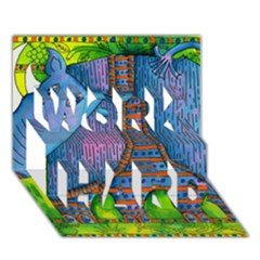 Patterned Rhino WORK HARD 3D Greeting Card (7x5)