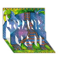 Patterned Rhino Thank You 3d Greeting Card (7x5)