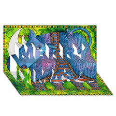 Patterned Rhino Merry Xmas 3D Greeting Card (8x4)