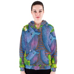 Patterned Rhino Women s Zipper Hoodies
