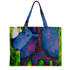 Patterned Rhino Zipper Tiny Tote Bags