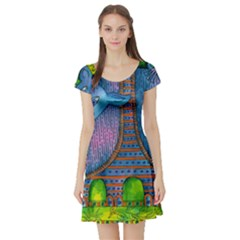 Patterned Rhino Short Sleeve Skater Dresses