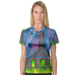 Patterned Rhino Women s V-Neck Sport Mesh Tee