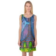 Patterned Rhino Sleeveless Satin Nightdresses