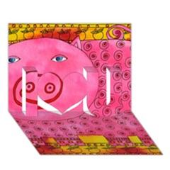 Patterned Pig I Love You 3D Greeting Card (7x5)